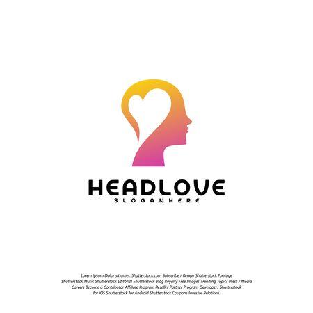 Head love logo vector, Head intelligence logo designs concept vector