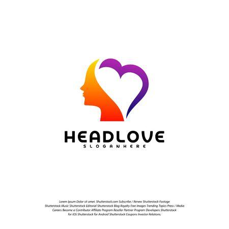 Head love logo vector, Head intelligence logo designs concept vector Logo