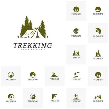 Set of Outdoor activity symbol logo, Camping, Climber, Rock Climber