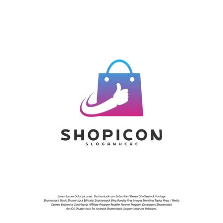 Good Shop  Template Design Vector. Great Shop  vector. Hands Holding Bag  concept Vettoriali