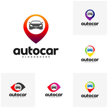 Set of Car Point Logo Template Designs. Auto car logo point