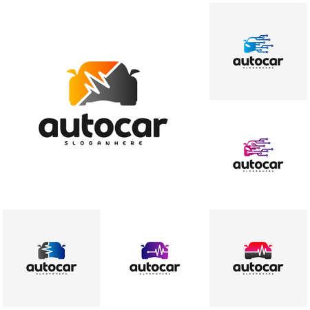 Set of Car pulse logo template. Car Repair Logo Template. Auto car logo repair. Car tech logo