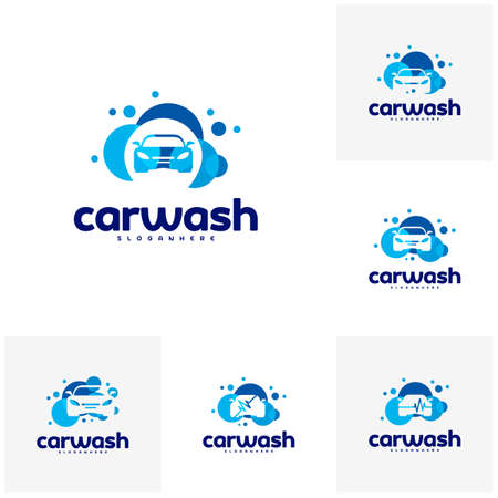 Set of Car Wash Logo Template Designs