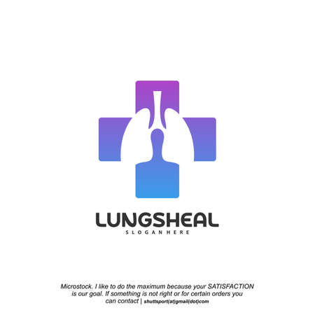 Health Lungs logo designs vector, Lungs with Plus symbol logo