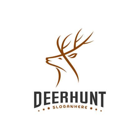 Deer Hunt Logo template, Elegant Deer Head logo designs vector