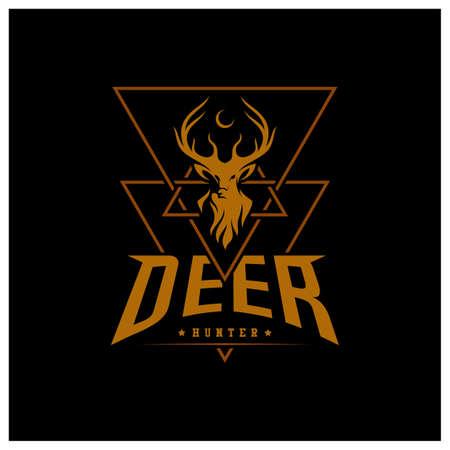 Set of Deer Hunt Logo template, Elegant Deer Head logo designs vector