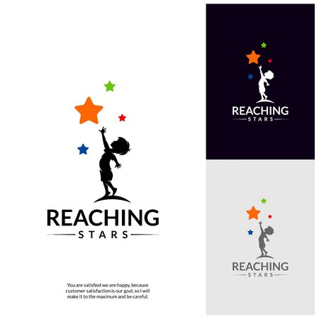 Reaching Stars Logo Design Template. Dream star logo. Emblem, Colorful, Creative Symbol, Icon