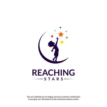 Reaching Stars Logo Design Template. Dream star logo. Emblem, Colorful, Creative Symbol, Icon