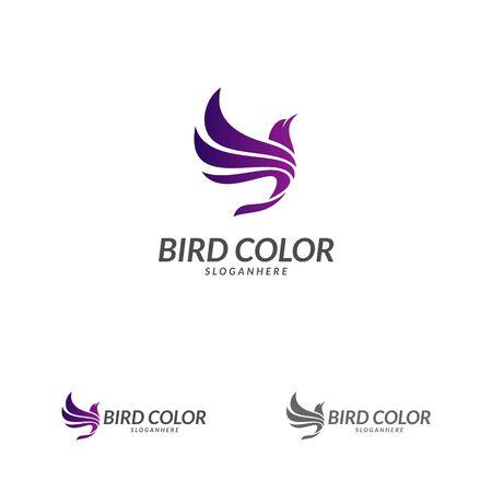 Flying Bird Logo design vector template. Dove Pigeon Logotype concept icon.