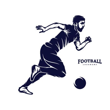 Soccer and Football Player Man logo vector. Silhouette