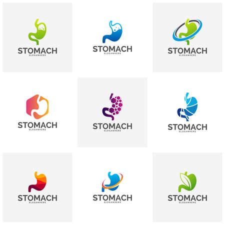 Set of Stomach Template Design Vector, Stomach Care Design Concept Vector Ilustrace