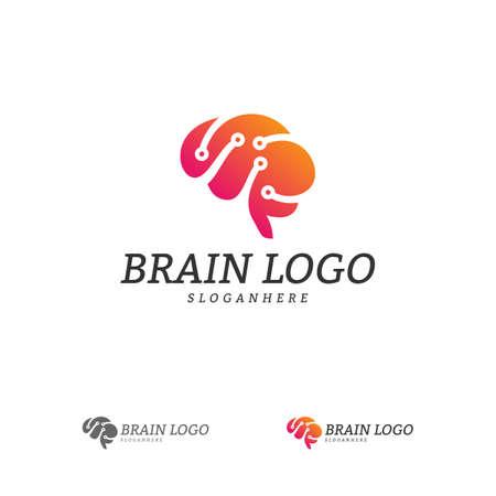 Brain Tech Logo Vector Template. Tech Brain Mind Logo Concepts Logo