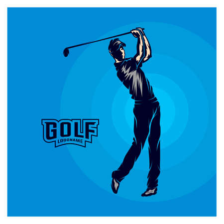 Golf player VECTOR. Silhouette of a golf player. Vector illustration