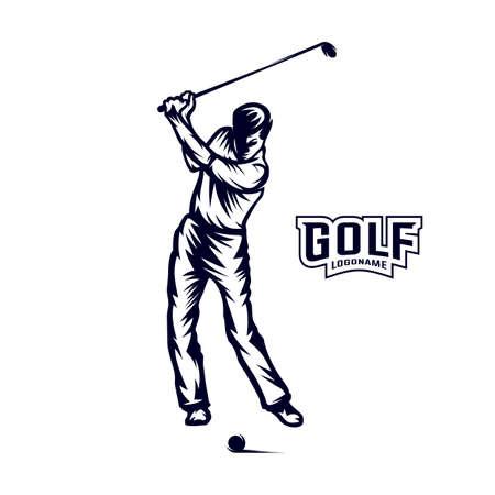 Golf player VECTOR. Silhouette of a golf player. Vector illustration Vecteurs