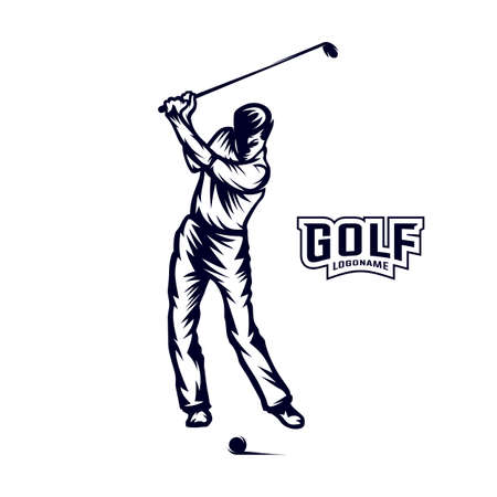 Golf player VECTOR. Silhouette of a golf player. Vector illustration Vetores