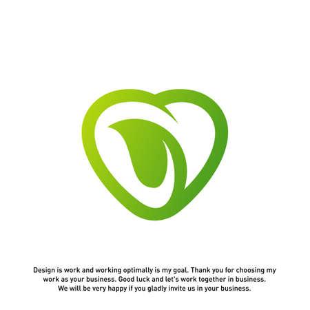 Love Green Creative logo concepts, Nature Heart logo, elements and symbols, template - Vector