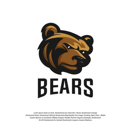 Bear Logo design vector. Modern professional grizzly bear logo for a sport team