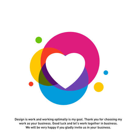 Love Heart Creative logo concepts, abstract colorful icons, elements and symbols, template - Vector Ilustrace