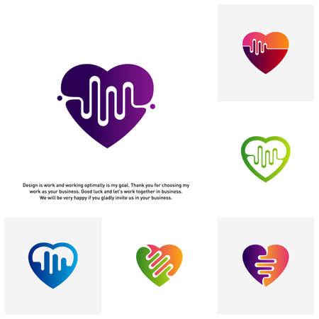 Set of Love Heart with pulse logo vector, elements and symbols, template - Vector