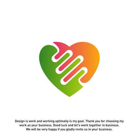 Love Heart with pulse logo vector, elements and symbols, template - Vector Illusztráció