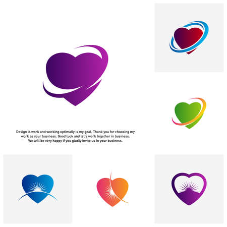 Set of Love Heart Creative logo concepts, abstract colorful icons, elements and symbols - Vector
