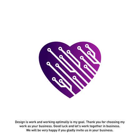 Love Tech Creative logo concepts, Tech logo template, elements and symbols, template - Vector