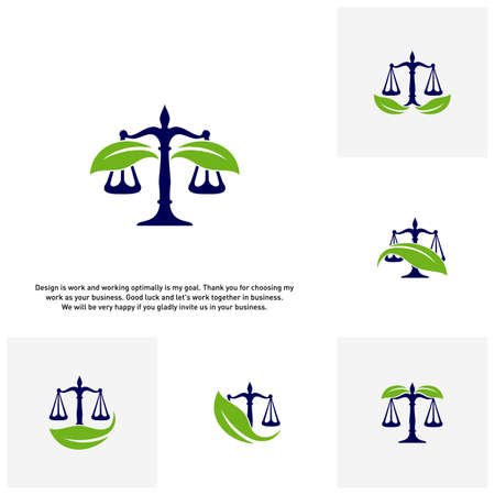 Set of Nature Law Firm Logo template. Green Scales logo concepts. Law firm with Leaf logo vector Ilustrace