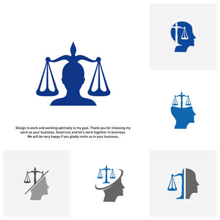 Set of Law Firm with People Logo design template. Law Firm logo concepts. Attorney logo vector