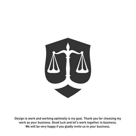 Law office logo in the form of shield with greece column and scales. The judge, Law firm Vector