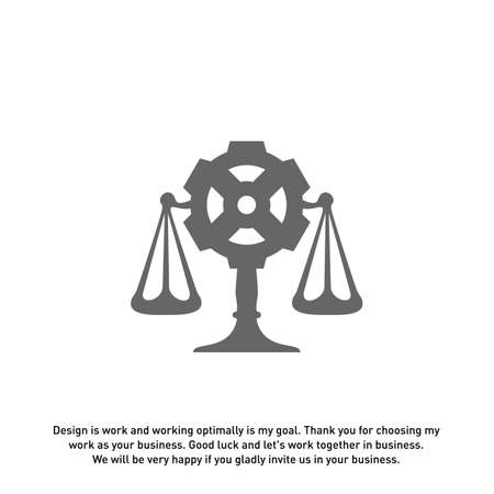 Law Firm with Gear Logo design template. Law Firm logo concepts. Gear logo vector Ilustrace