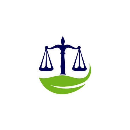 Nature Law Firm Logo design template. Green Scales logo concepts. Law firm with Leaf logo vector