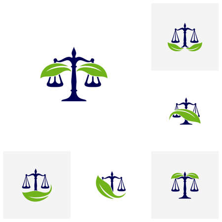 Set of Nature Law Firm Logo design template. Green Scales logo concepts. Law firm with Leaf logo vector