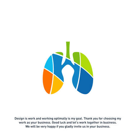 Lungs with Colorful logo vector concept, Health lungs logo designs template, template - Vector