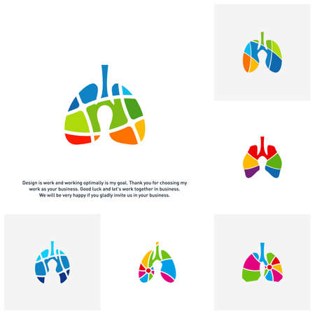 Set of Lungs with Colorful logo vector concept, Health lungs logo designs template, template - Vector Ilustrace