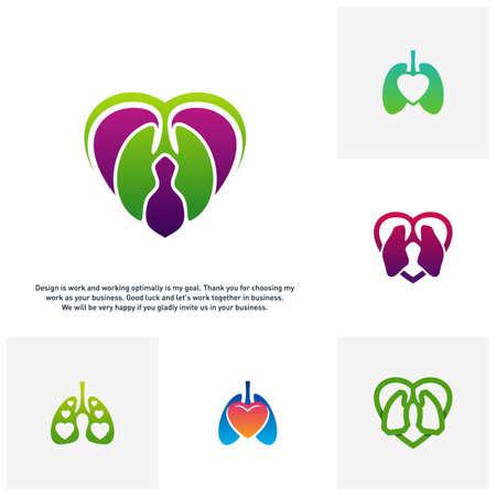 Set of Lungs Love Hearth logo vector concept, Health lungs logo designs template, template - Vector
