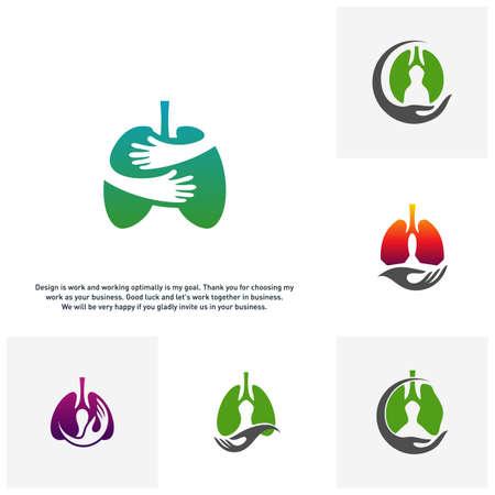 Set of Lungs Care Logo Template Design Vector, Lungs health Design Concept,Creative, Icon - Vector