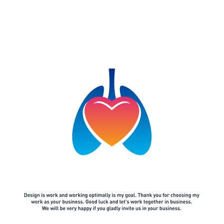 Lungs Love Hearth logo vector concept, Health lungs logo designs template, template - Vector Ilustrace
