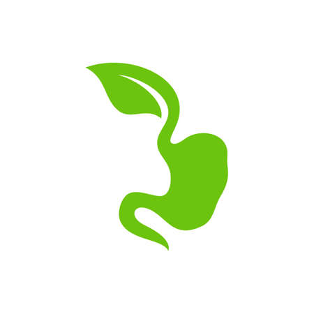 Stomach with Leaf logo design concept, Healthy Stomach logo Template Vector - Vector illustration