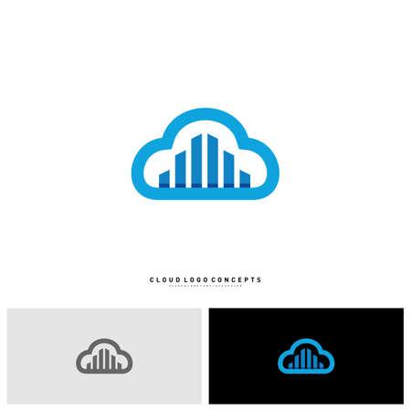 Modern Building Cloud Logo Design Concept Vector. Cloud City Logo Template Vector