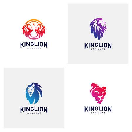 Set of Lions Logo Design Concept. King Lions Logo Design Template Vector. Icon Symbol
