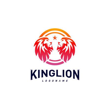 Lions Logo Design Concept. King Lions Logo Design Template Vector. Icon Symbol