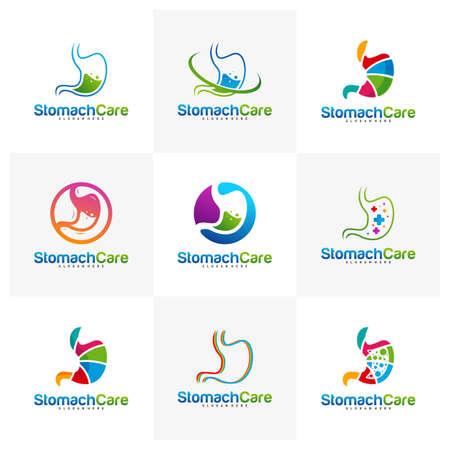 Set of Stomach Care Logo Design Concept Vector, Health Stomach Logo Design Template.