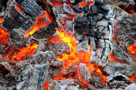 sizzle: live coals Stock Photo