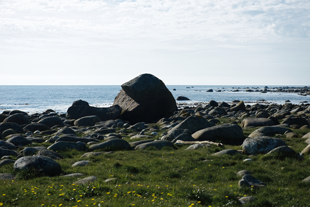 mountain landscape, stones, green grass, blue sky. Norway at sunny day