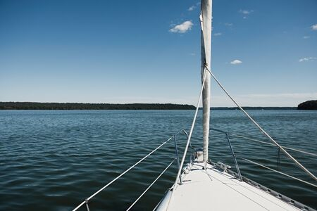 Sailing boat, view from the deck of the yacht. Vacation on a boat. Sailing on the sea.