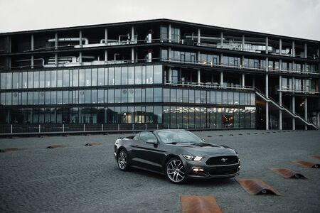 Kaunas, Lithuania - May 4, 2019: Gray Ford Mustang cupe parked in city center. Editorial
