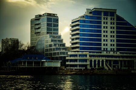Crimea, Sevastopol. Evening photo of the monument to the scuttled ships, the symbol of Sevastopol. Stock Photo