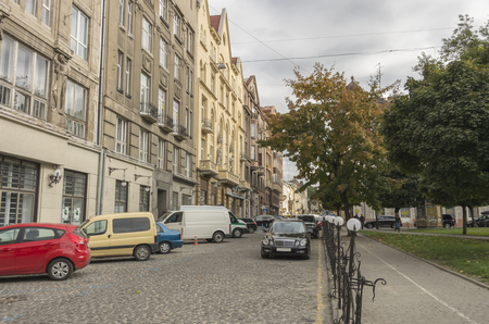 antique vase: Lviw, Lemberg, Lwiw, autumn, city landscape, architecture, building. Stock Photo