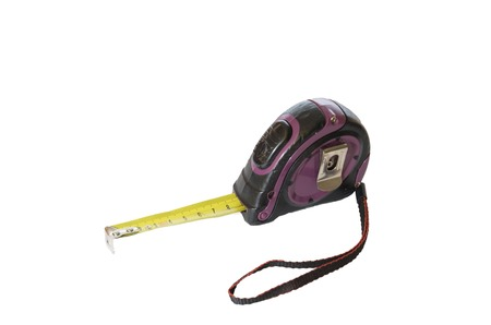 Isolated metal ruler, Tape measure in centimeters Stock Photo