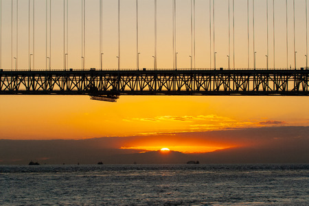 Akashi-Kaikyo Bridge and the Sun
